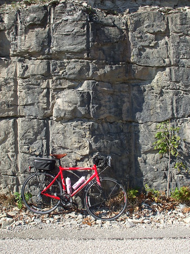 Bike and limestone