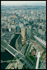Yokohama from above (Eric Flexyourhead) Tags: japan high view aerialview yokohama kanagawa zd olympuse500 1445mm yokohamalandmarktower yokohamashi