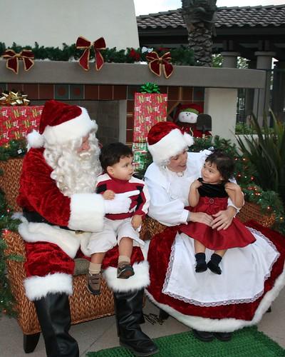 Twins with Santa