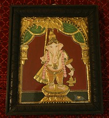 Standing Ganesha (Tanjore) (Malathi Srinivasan) Tags: other some 8x10 if custom sizes apply required 6x8 10x12 24x26 exceptions 18x20 14x16 mostpaintingsavailablein4x5