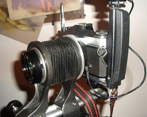 Close-up lens fitted to 35mm SLR