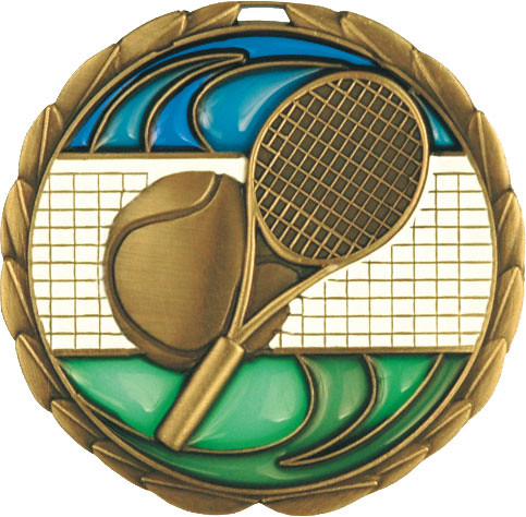 cem-335 Tennis Stained Glass Medals