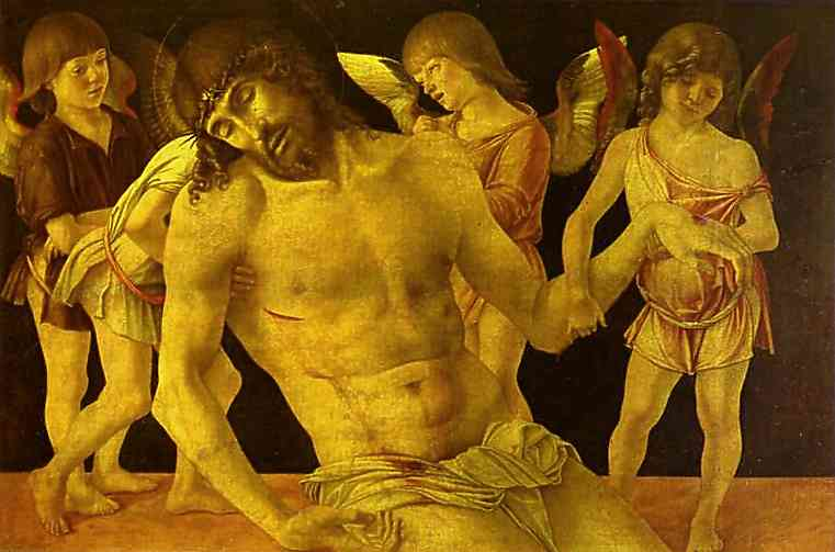 BELLINI, Giovanni Dead Christ Supported by Angels c1470