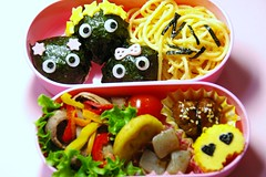 3 sisters bento (mk family) Tags: school cute lunch kawaii bento lunchbox obento   girls  3sisters