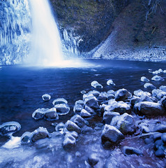 Horsetail Falls (Zeb Andrews) Tags: blue winter cold ice nature water oregon outdoors frozen waterfalls pacificnorthwest columbiarivergorge brrrrr fujivelvia50 coldsnap hasselblad500c bluemooncamera zebandrews zebandrewsphotography