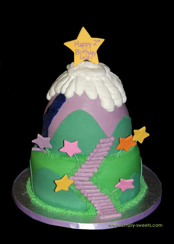 Purple mountain birthday cake
