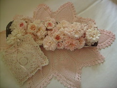drying roses and lace (skblanks) Tags: pink roses white ribbons lace crochet romantic chic sachet shabby pretties