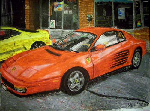 A Ferrari Testarossa oil pastel drawing.