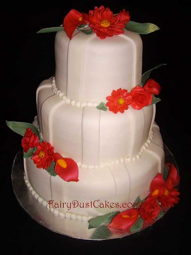 Callie's red sugar flowers wedding cake