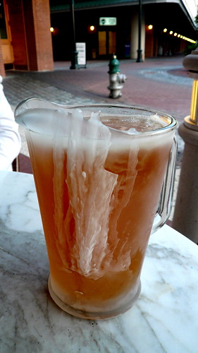 A real frosty pitcher of beer. While the ice just waters down the beer and the extreme cold kills the taste, it looks rather inviting nonetheless. Photo by Ubi Desperare Nescio.