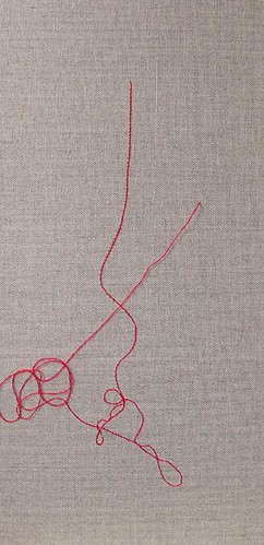 Kirsty Hall, photograph of red thread drawing in progress