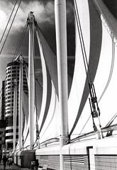 Canada Place 3, Vancouver (FTonyC) Tags: blackandwhite monochrome film 35mm minoltadynax505si ilfordhp5 retro darkroom chemistry analogue canadaplace vancouver canada architecture deco ship sails