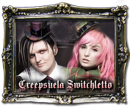 Creepsuela Switchletto ad with Clint Catalyst and Audrey Kitching / Dee Dee T.