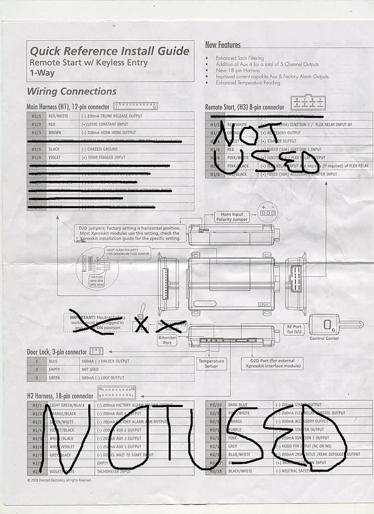 new clifford matrix 1 2 will not arm and here is the wiring diagram out any markings