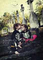 Sweet Ghouls ({amanda}) Tags: texture halloween cemetery children toddler dressup crosses headstones naturallight bones skeletons pretend 2years 15months ghouls amandakeeysphotography amandasactions