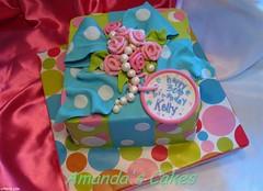 Kelly's 30th Birthday - overview (mandotts) Tags: birthday pink blue green bright teal pearls 30th bold gifttag presentcake giftcake ribbonroses 30thbirthdaycake fondantribbon alledilble