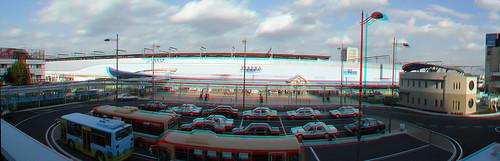 Panorama-3D Kakogawa anaglyph-Kakogawa Station and Koban-3DパノラマJR加古川駅