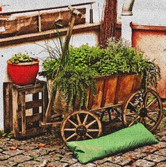 Aschaffenburg: Town Centre (bill barber) Tags: wood flowers plants flower art wheel wall germany garden wagon bayern deutschland bill artwork main decoration craft william holes container cobble cobblestone pot ornament german elements barber alemania kraftwerk crate planter tyskland bundesrepublik casanova germania alemanha windowbox kraft duitsland drainage deutsche aschaffenburg ornamentation rivercruise photoshopelements craftwork lallemagne spessart billbarber doitsu niemcy njemaka saksa nmetorszg njemacka  nemecko mywinners anawesomeshot ysplix onlythebestare wdwbarber kreisfreiestadt williambarber peterdeilmann bbarber1 mscasanova germnia enoughroom plantsneeds