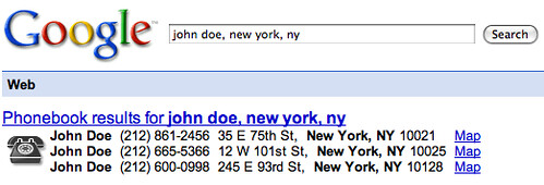 Google Phone Book Results