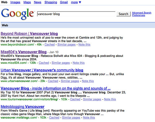 top vancouver blog google search....