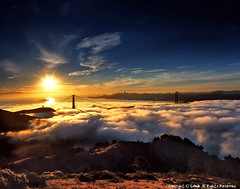 and wonder what a 1000 years more will look like, san francisco sunrise fog (louie imaging) Tags: sf life california ca city bridge blue light sun fog skyline modern america sunrise lost gold dawn golden bay gate san francisco cityscape fuji view dusk contemporary foggy slide classical scape headland siloutte morningfog fogcity goldlight sanfranciscoskyline sanfranciscofog 8x20 goldengatebridgefog cityfog dawncityfog alcatrazfog fogskyline