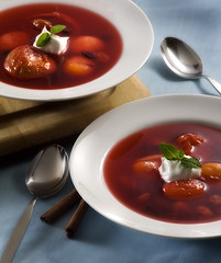 Fruktsoppa (fhansenphoto) Tags: 2 food cold set fruit soup cherries cinnamon bowl peaches apricots blueberrys