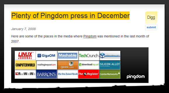 Pingdom press in December 2007
