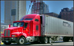 Trump truck (mudpig) Tags: geotagged yahoo newjersey google jerseycity nj semi msn hdr tractortrailer trumpplaza livecom mudpig primeinc kenworthtruck