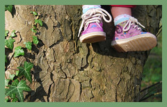 tree*climbing (tiatalula) Tags: pink trees tree children boots ivy climbing bark trailing