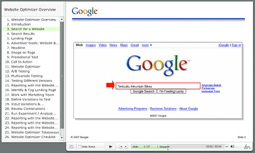 Google Website Optimizer 2