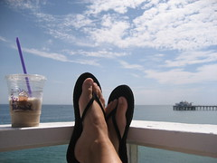The Good Life (seaotter22) Tags: ocean sky feet clouds pier malibu feets sandal coffeebean goodlife iceblended malibupier
