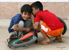 !  (Dr. Hendi) Tags: boy portrait color bike kids children kid day iran repair portraiture     khuzestan      anoosh   hendijan doctorhendii