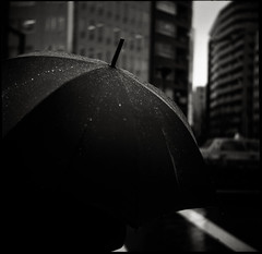rain man (TommyOshima) Tags: monochrome rain umbrella 120film 100 rodinal superricohflex 80mm f35 selfdeveloped fomapan anastigmat tripletlens