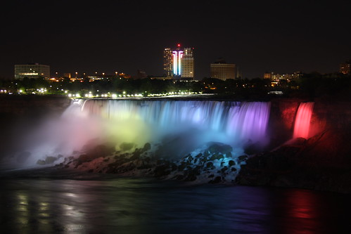 American Falls at night - impressive rainbow colors