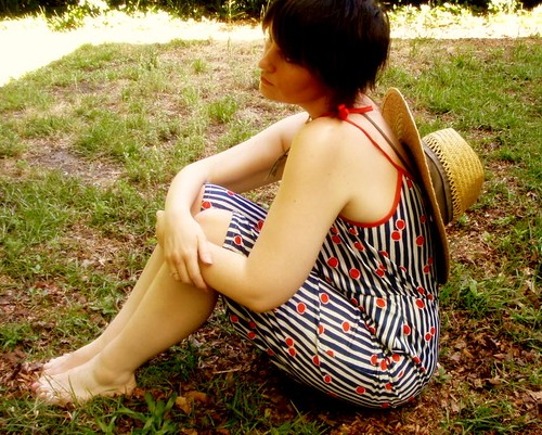 striped polka dot jumpsuit