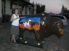 Aimee and Buffalo (2007) (aimeedars) Tags: aimeedars buffalo ardmore oklahoma publicart ok spiritofthebuffalo 2007 september geotagged paintedbuffalo paintedsculpture painted statue