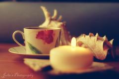 Vintage Romance..{EXPLORED} (Julie™) Tags: wood blue sea shells coffee vintage julie candle explore romantic