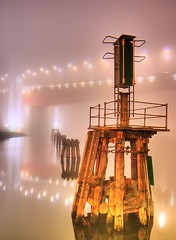 The Bolte Mist (Vermin Inc) Tags: bridge mist fog night reflections lights moody pentax towers australia melbourne victoria docklands boltebridge citylink mooringposts 5xp k10d