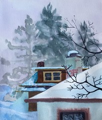 Blue Snow (Handwork Naturals) Tags: edenscovillehart catskillnewyork villageofcatskill catskills village town house country snow viewfrommywindow
