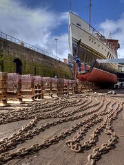 In the drydock (velton) Tags: b photography scotland clyde greenock action traditional ships paddle scottish competition skills historic national maritime hull steamer category drydock hdr waverley repairs shipbuilding  2011 garvel velton