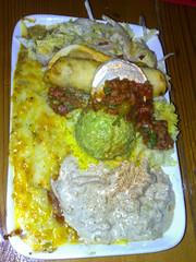 Amigos Oaxaca plate- a chicken enchilada, chilli verde, beef taquito, guacamole, sour cream, salsa, salad & rice. $19.90