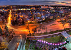 More Colors of Winnipeg (bryanscott) Tags: city orange house color building skyline architecture lights warm winnipeg apartment purple traffic trail hdr corydon photomatix hdratnight