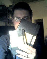 Dan, posing with the mini-Moleskine and the fatty-Moleskine.