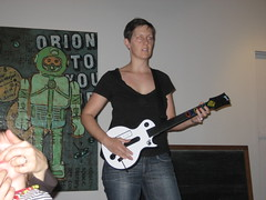 Meg shredding on her axe (jkottke) Tags: guitarhero meghourihan eyefi