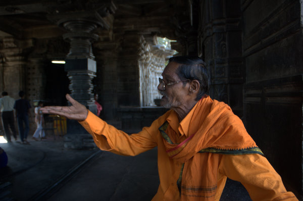 The guide who helped. 1000 pillar temple, Warangal