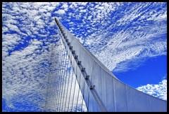 Heavenly (Thad Roan - Bridgepix) Tags: bridge blue sky argentina architecture clouds buenosaires lookup puentedelamujer bridgedetails skyarchitecture bridgepixing bridgepix 200801