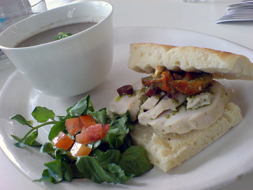 Mushroom soup and Basil Pesto Chicken Sandwich 2