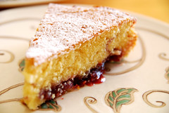 Butter Cake with Raspberry Jam.