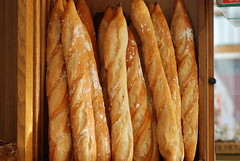 delicious fresh baguettes with a light dusting of flour
