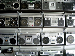 boombox (spanier) Tags: music wall sharp panasonic sound boombox cassette technique ghettoblaster aiwa jvc beston